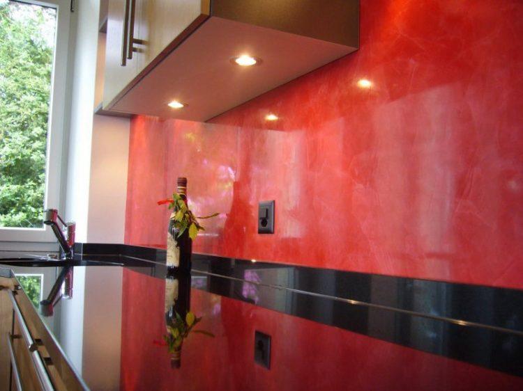 stucco veneziano spatolato rosso